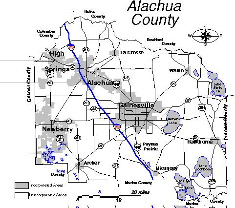 Alachua County Map About The Alachua County